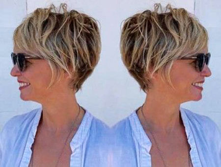 Short Hairstyles, Pixie Cut, Women, Two, Permed, Older, Kaley