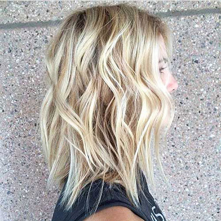 Blonde, Long, Bob, Balayage, Women, Textured, Short, Ends, 2017