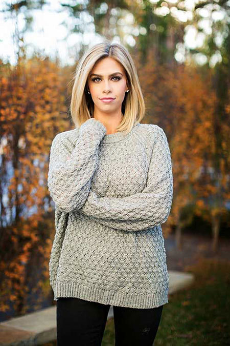 Long, Knitting, Bob, Blonde, Women, Shoulder, Short, Length, Fringe