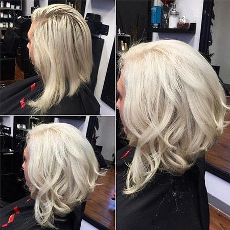 Blonde, Bob, Long, Curly, Angled, Women, White, Some, Sleek