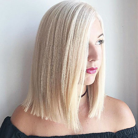 Blonde, Platinum, Ash, Waves, Textured, Sleek, Medium, Lob, Highlights, Gray