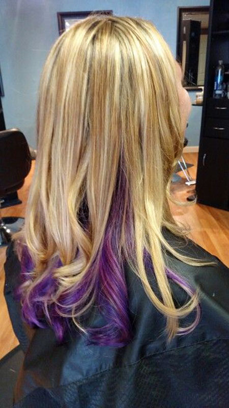 Blonde Hair Purple Highlights