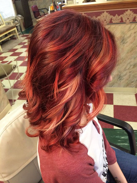 Red Highlights Hair Blonde