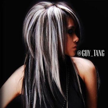 Hair Blonde Black Highlights