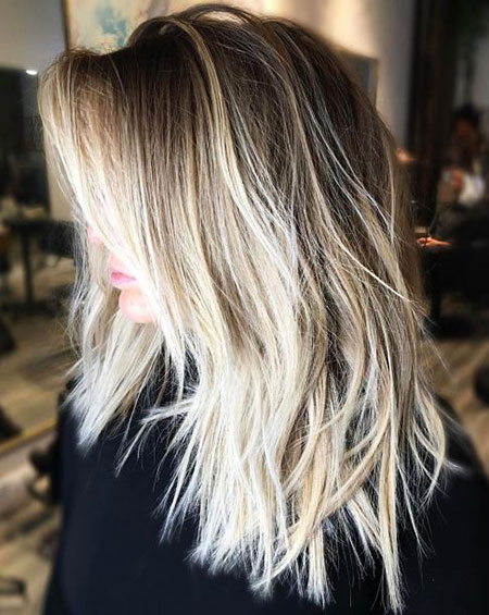 Choppy Blonde Balayage Long
