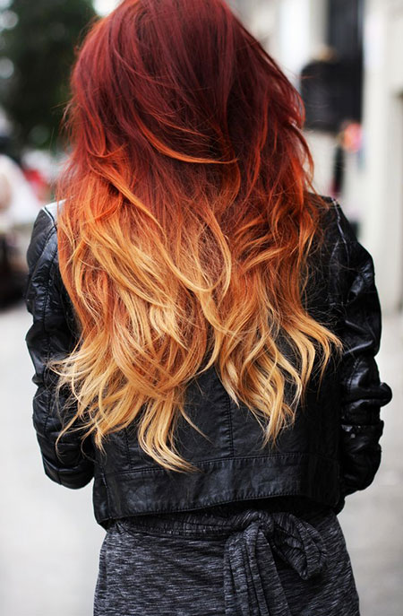 Hair Ombre Red Color