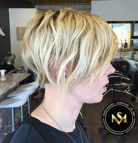 Layered Pixie Bob, Blonde Fine Bob Bobs