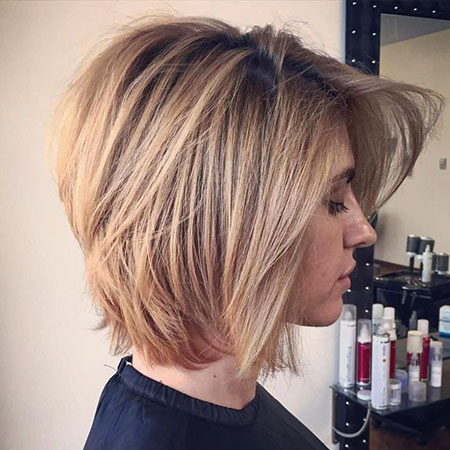 Short Bob Layered Cut, Bob Layered Blonde Bronde