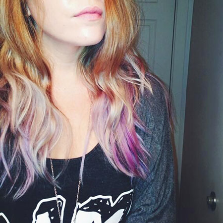Hair Blonde Purple Medium