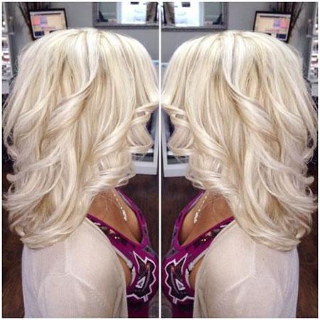 Loose Curls, Blonde Hair Platinum Color