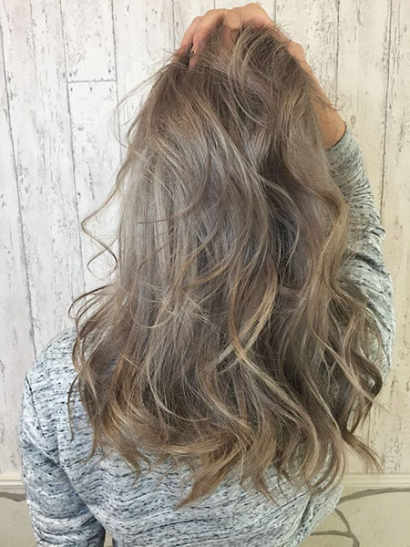 Loose Waves, Blonde Ash Hair Balayage