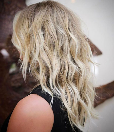 Layered Wavy Hair, Choppy Blonde Shaggy Medium