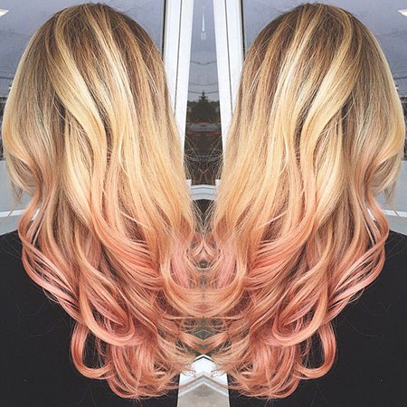 Rose Gold Ombre, Blonde Hair Gold Rose